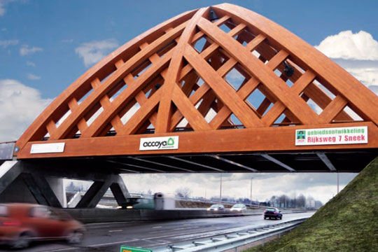 This bridge in Sneek, Friesland, the Netherlands, made of Accoya is projected to last up to 100 years